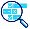 magnifying glass over Boolean data icon