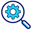 magnifying glass over a gear icon