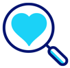 magnifying glass over a heart icon