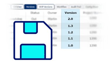 save icon overlapping version types inside the Adept document dashboard